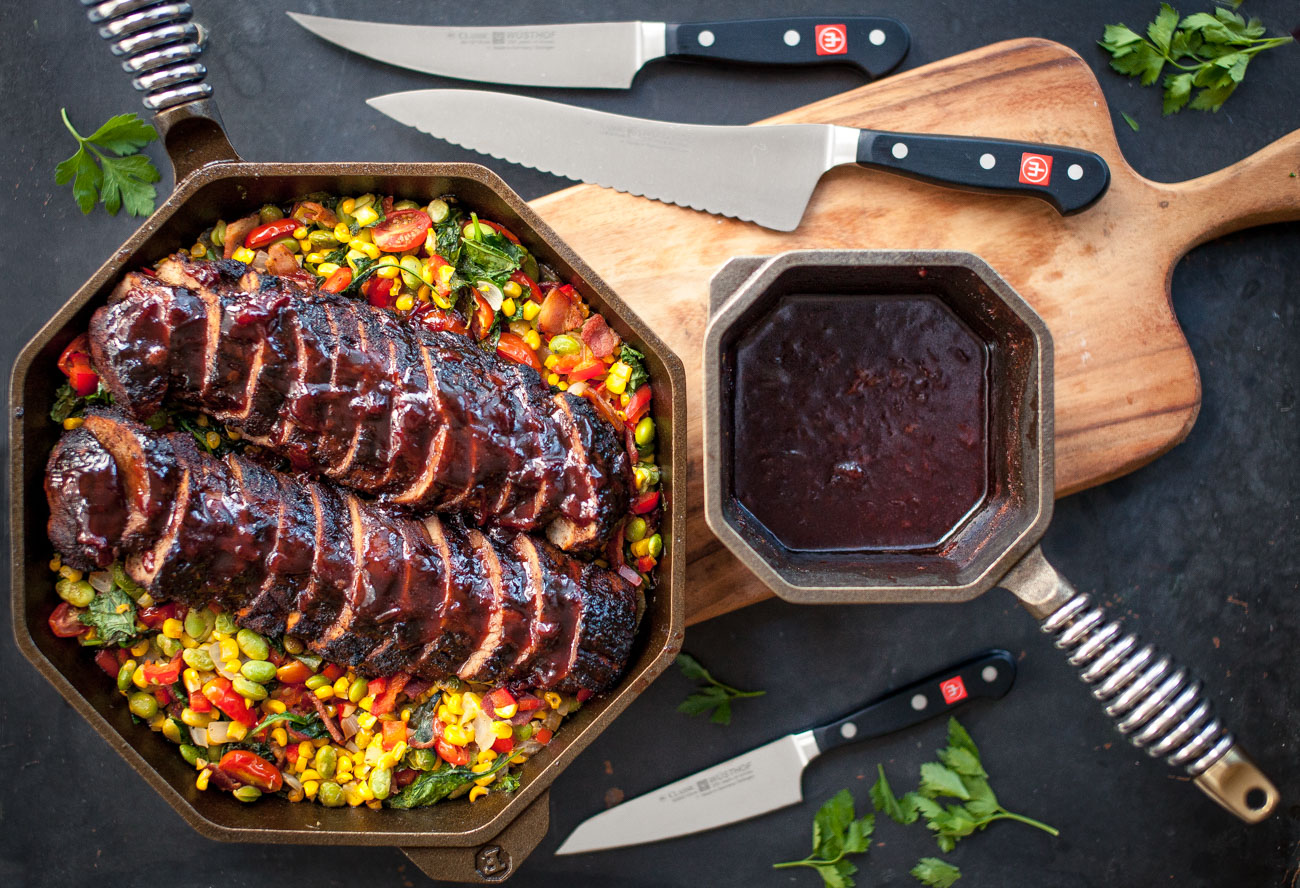 FINEX Cast Iron Cookware Espresso Rubbed Pork Tenderloin with Sour Cherry Glaze and Succotash