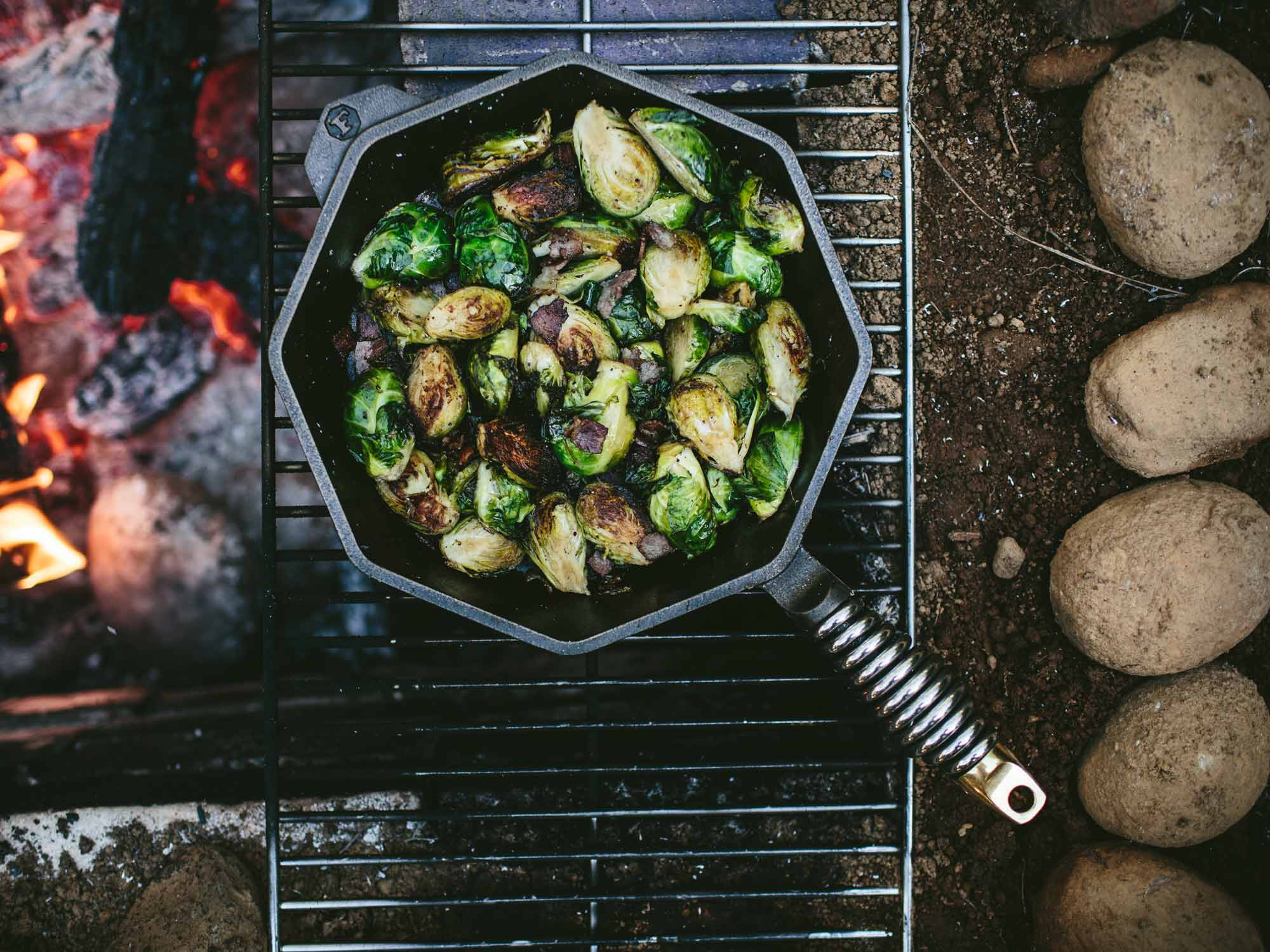 "12"" cast iron skillet cooking brussel sprouts"