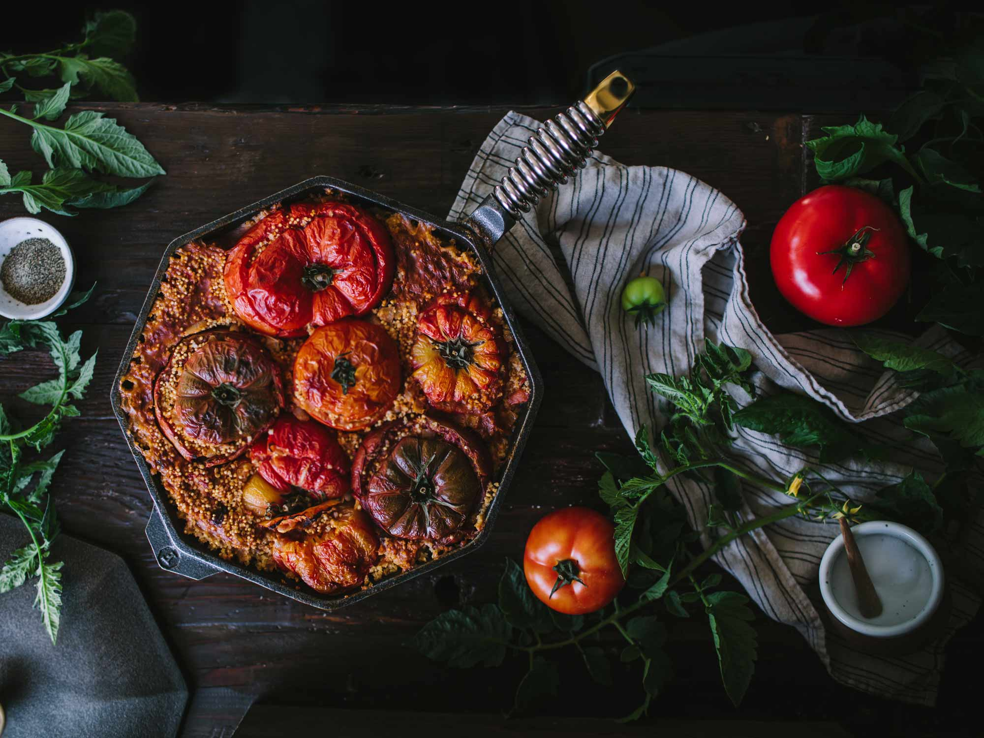"""12"""" cast iron skillet with couscous and tomatoes"""