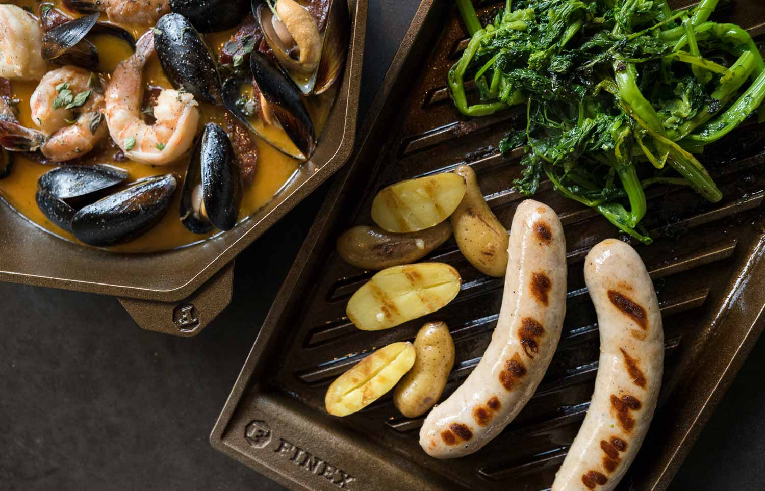 Grill pan bratwurst with rapini, fingerling potatoes, and grain mustard sauce