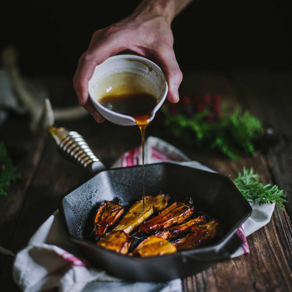 "Maple Balsamic Roasted Carrots With The FINEX 8"" Cast Iron Skillet 1"
